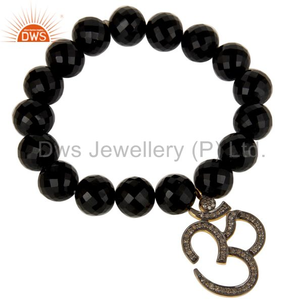 Black Oxidized Sterling Silver God Symbal Design Diamond & Black Onyx Bracelet