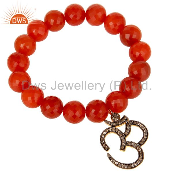 18k Gold Plated Sterling Silver God Symbal Design Diamond & Red Onyx Bracelet