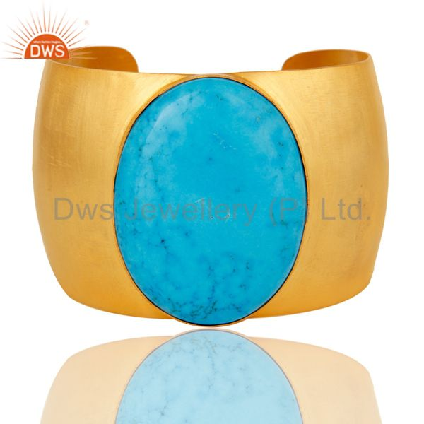 Traditional Handmade 22K Gold Plated Natural Turquoise Openable Brass Bangle