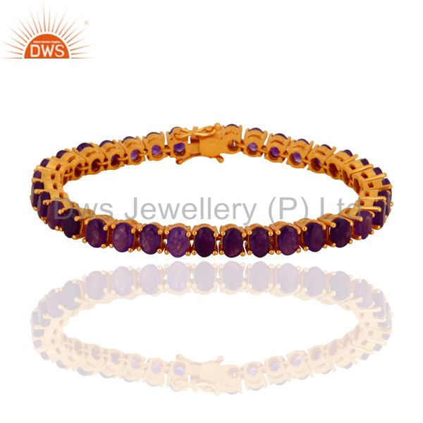 18K Yellow Gold Plated Sterling Silver Purple Chalcedony Fashion Tennis Bracelet