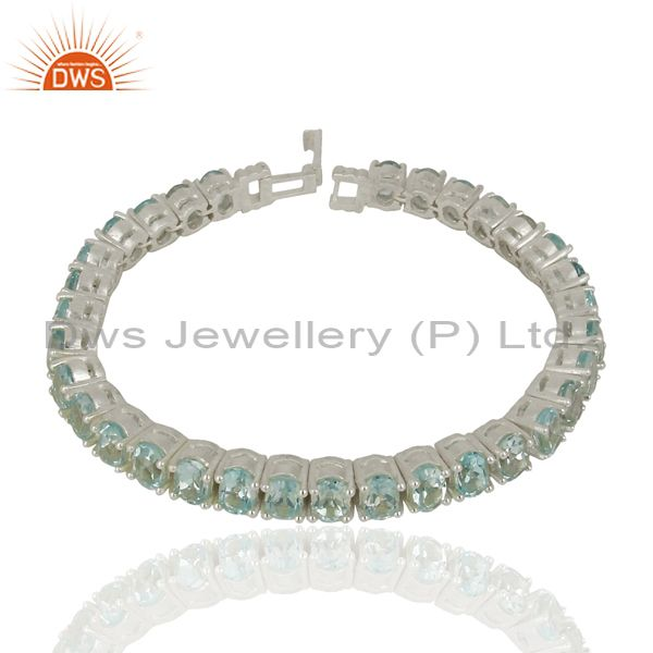 Blue Topaz Tennis 925 Sterling Silver Silver Plated Bracelet Gemstone Jewellery