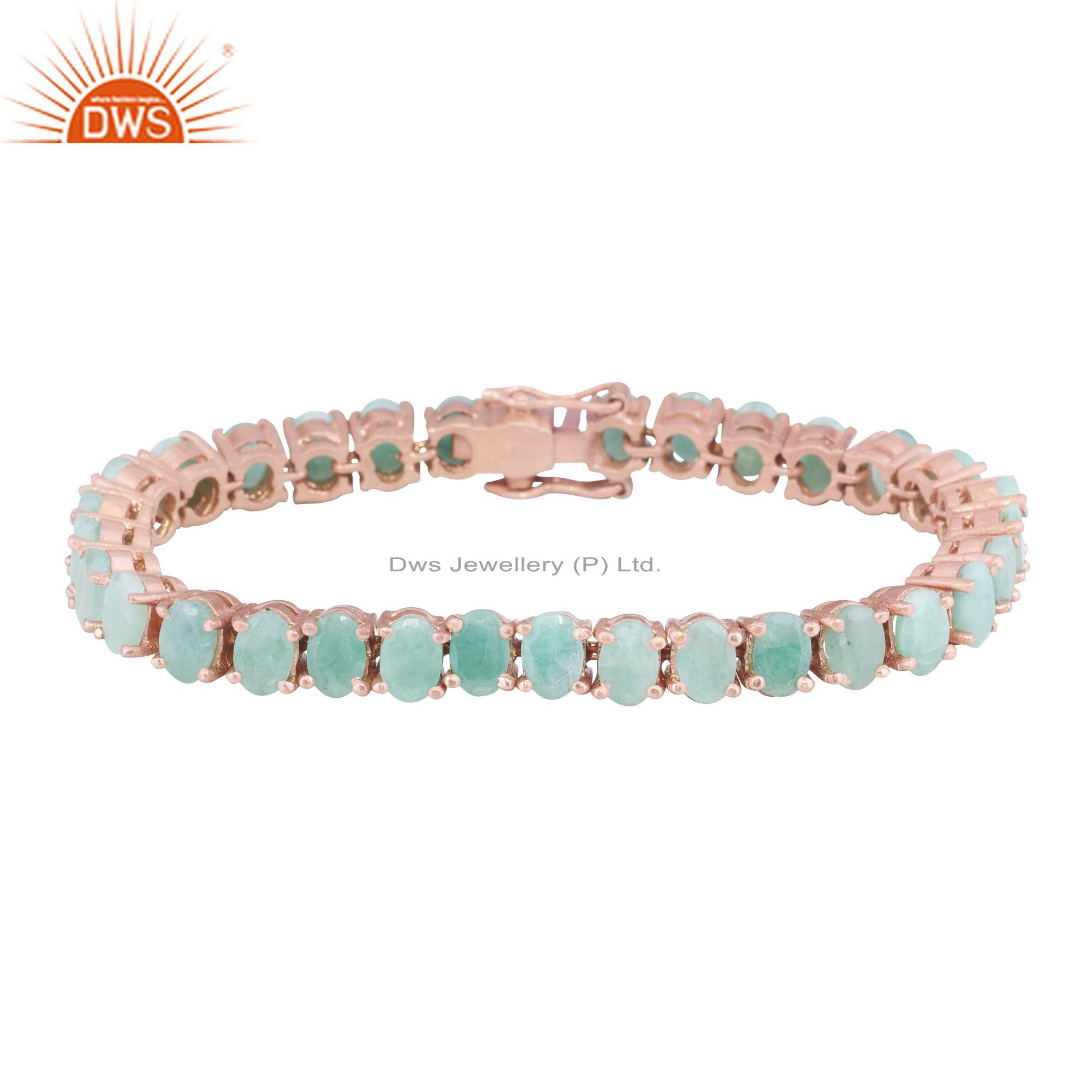 14K Rose Gold Plated Sterling Silver Emerald Gemstone Tennis Bracelet Jewelry