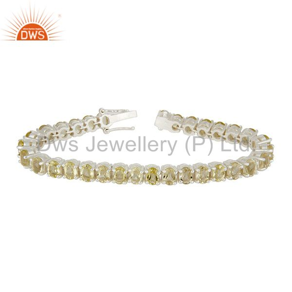 925 Sterling Silver Lemon Topaz Gemstone Tennis Bracelet