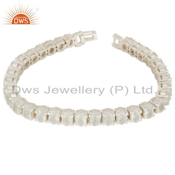 Solid 925 Sterling Silver White Moonstone Gemstone Tennis Bracelet
