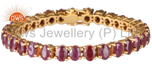 18K Yellow Gold Plated Sterling Silver Ruby Gemstone Cluster Bracelet