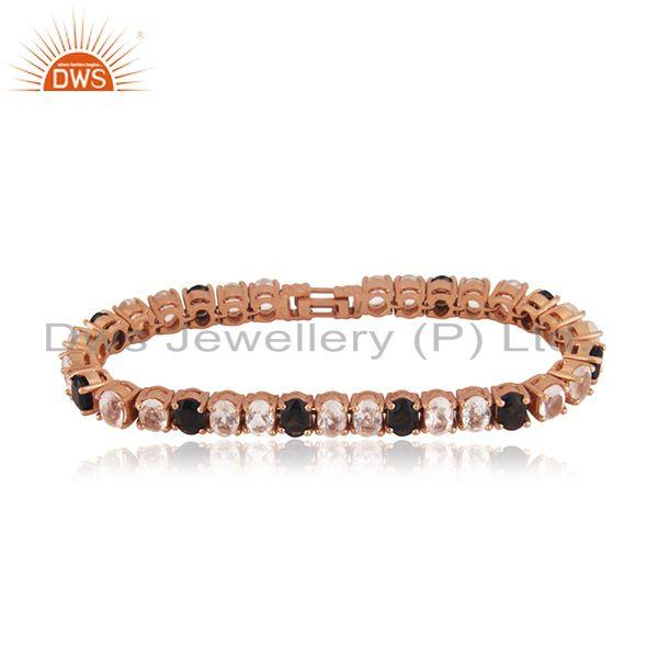 Rose Gold Plated Silver Quartz Gemstone Bracelet Jewelry Manufacturer