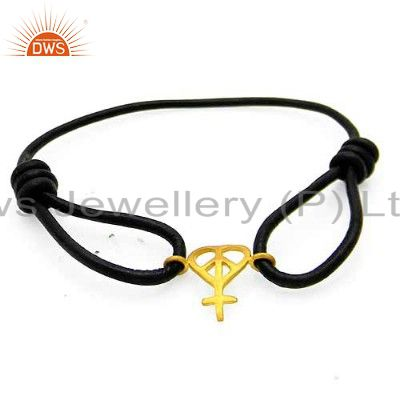 18K Yellow Gold Plated Sterling Silver Peace Sign Adjustable Macrame Bracelet