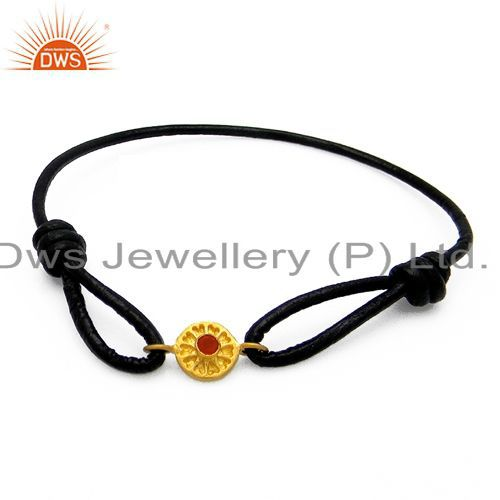 18K Yellow Gold Plated Sterling Silver Red Onyx Cord Macrame Fashion Bracelet