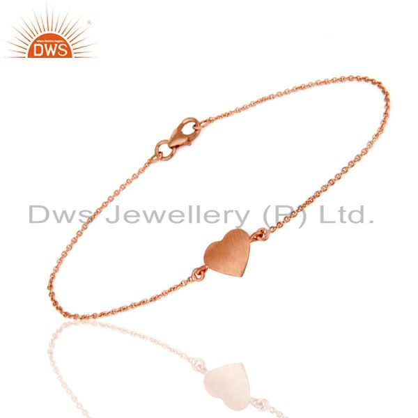 18K Rose Gold Plated Sterling Silver Heart Chain Bracelet Jewelry