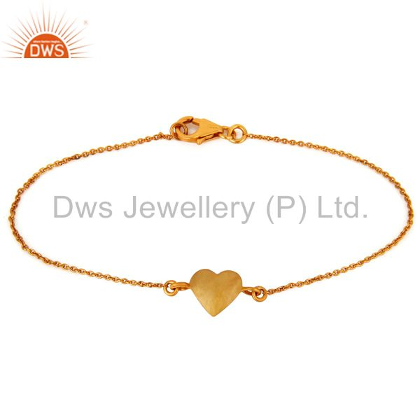 18K Gold Plated Sterling Silver Heart Charms Chain Bracelet For Womens