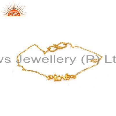 18K Solid Yellow Gold Love Charms Link Chain Bracelet
