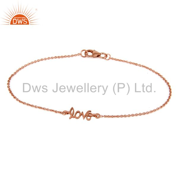 18K Rose Gold Plated Sterling Silver Cursive Style Love Word Chain Bracelet