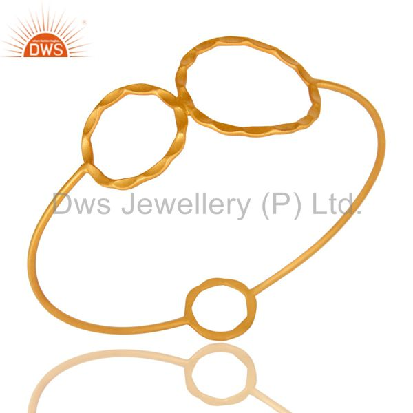 22K Yellow Gold Plated Sterling Silver Hammered Circle Stackable Bangle