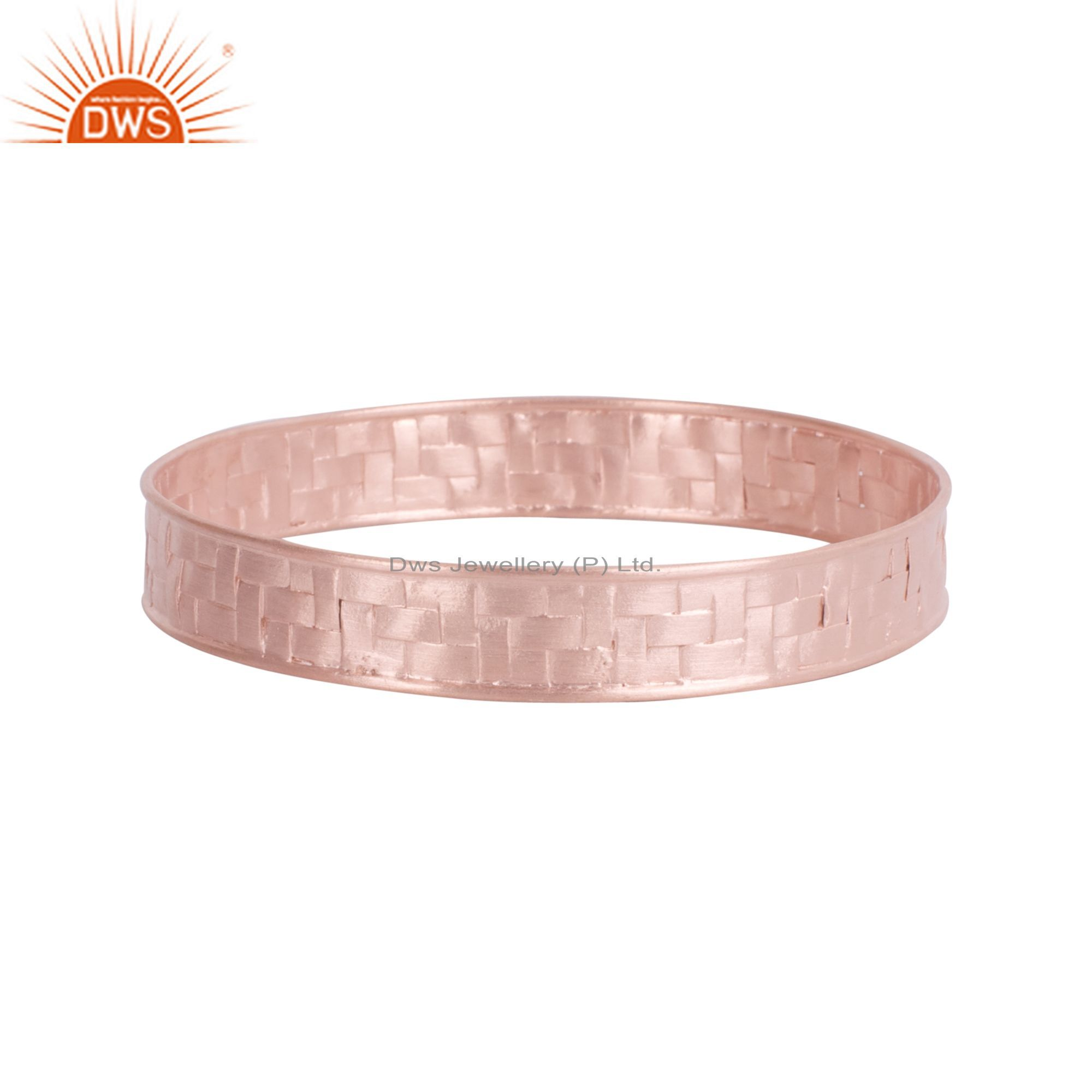 18K Rose Gold Plated Sterling Silver Hammered Woven Bangle Bracelet Jewelry
