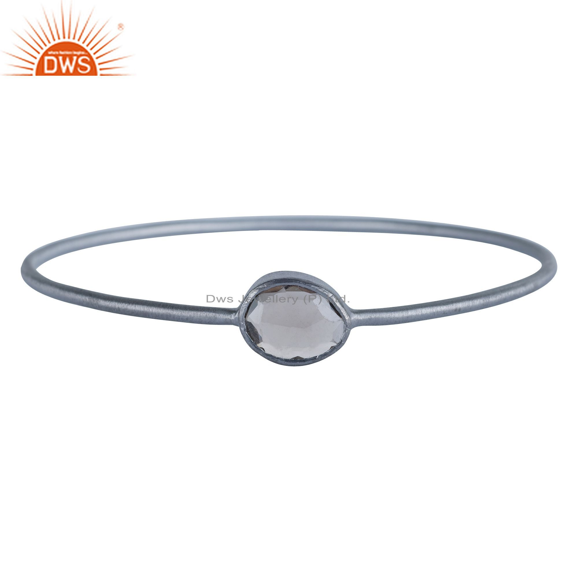 Oxidized Solid Sterling Silver Smoky Quartz Gemstone Stackable Bangle