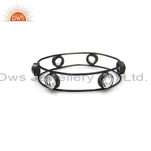 Handcrafted Sterling Silver With Oxidized Crystal Quartz Bangle Bracelet