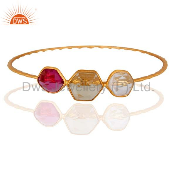 18K Gold Plated Sterling Silver Hammered Stackable Bangle With Crystal Quartz