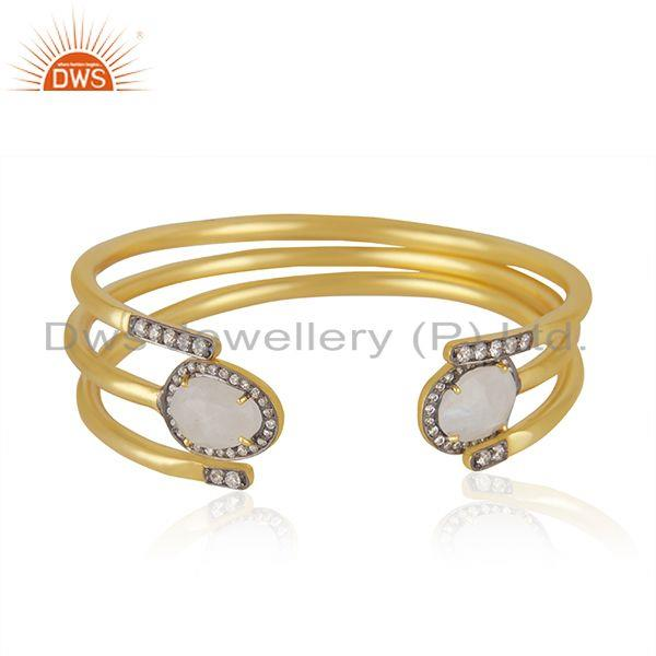 CZ Rainbow Moonstone Gold Plated Fashion 3 Cuff Bangle Set Jewelry
