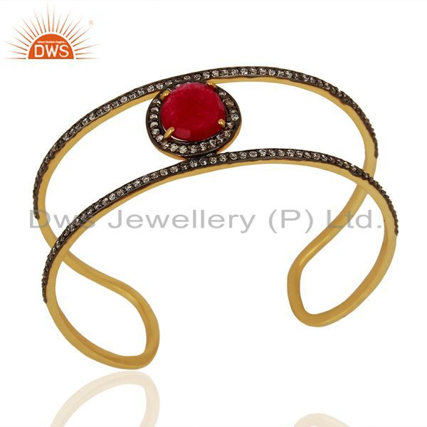 Handmade Gold Plated Fashion Gemstone Cuff Bracelet Supplier Jewelry