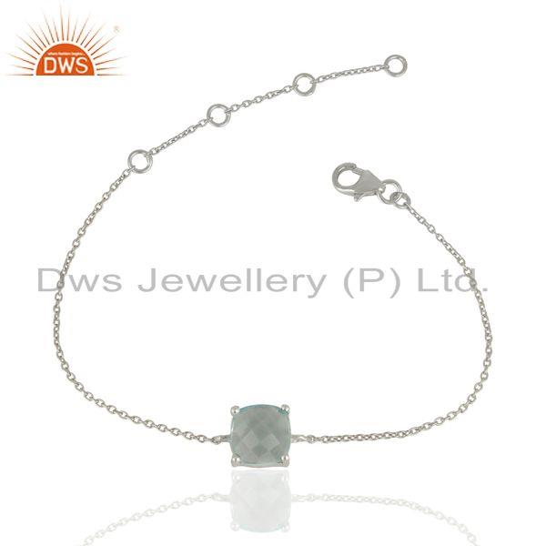 Blue Topaz Chain Link 925 Sterling Silver Bracelet Gemstone Jewelry