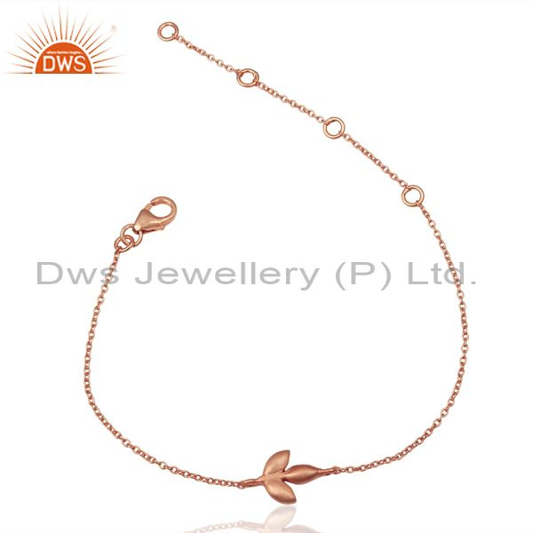 14K Rose Gold Plated 925 Sterling Silver Handmade Design Chain Bracelet Jewelry