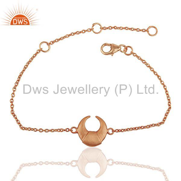 Moon Charm 925 Sterling Silver Rose Gold Plated Chain Bracelet Jewelry