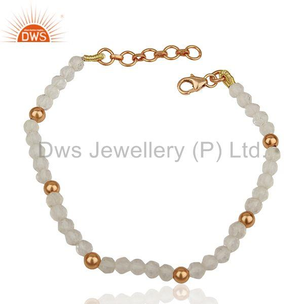 Rose Gold Plated Round 925 Silver Beaded Gemstone Bracelet Suppliers