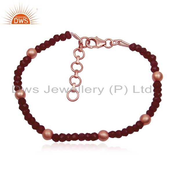 Ruby Corundum Gemstone Rose Gold Plated Beaded Strand Bracelet Manufacturers