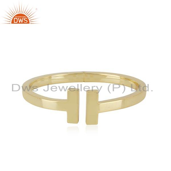 Indian 18k Gold Plated 925 Sterling Plain Silver Cuff Bangle Jewelry
