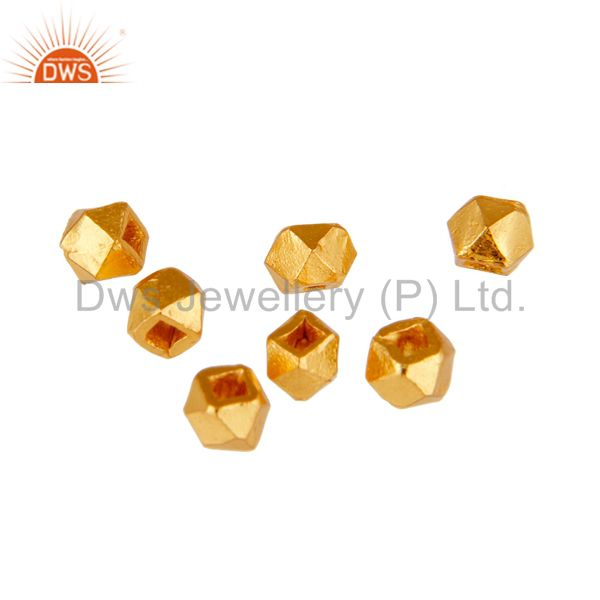 18K Yellow Gold Plated Sterling SIlver Round Shape Charms Findings Jewelry