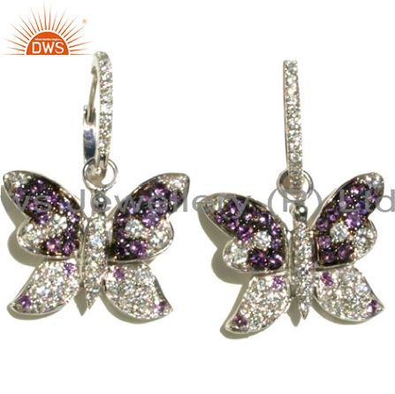 925 Sterling Silver Amethyst And White Topaz Butterfly Dangle Earrings