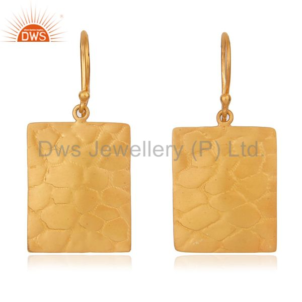 18k Gold Over Sterling Silver Hammered Textured Flat Hook Earrings Made in India