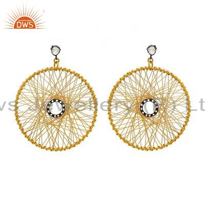 18K Gold Plated Sterling Silver Crystal CZ Polki Wire Weave Earrings
