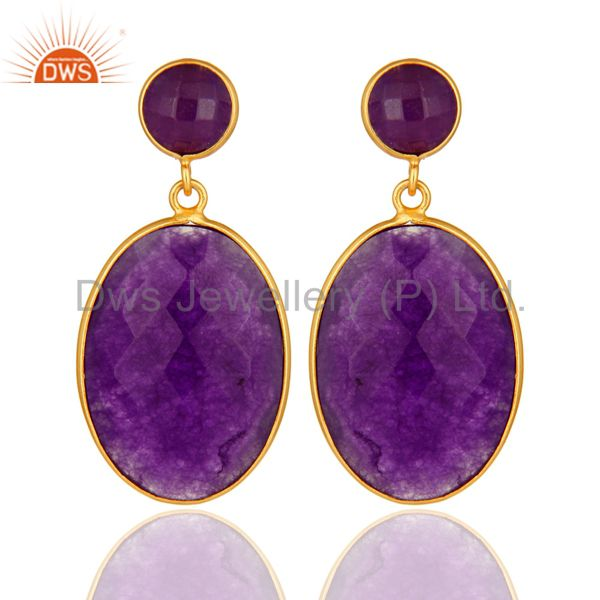 18K Gold Over Sterling Silver Purple Chalcedony Faceted Gemstone Drop Earrings