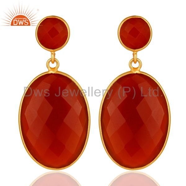 925 Sterling Silver Faceted Gold Plated Red Onyx Gemstone Drop Earrings