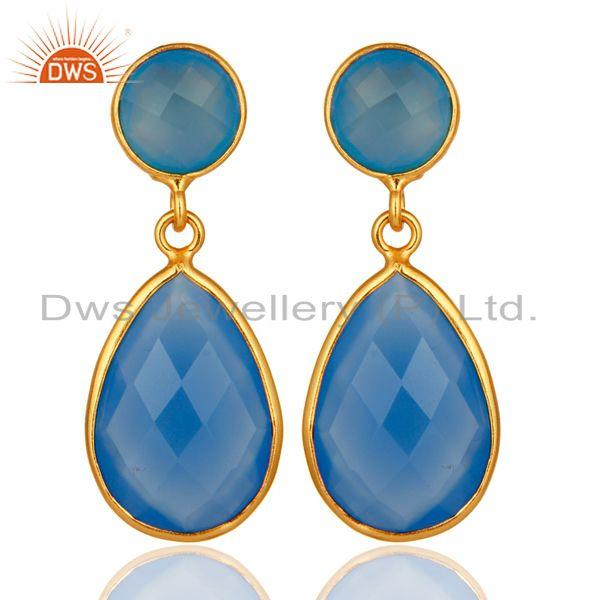 Faceted Blue Chalcedony Bezel Drop Earrings In 14K Gold Over Sterling Silver