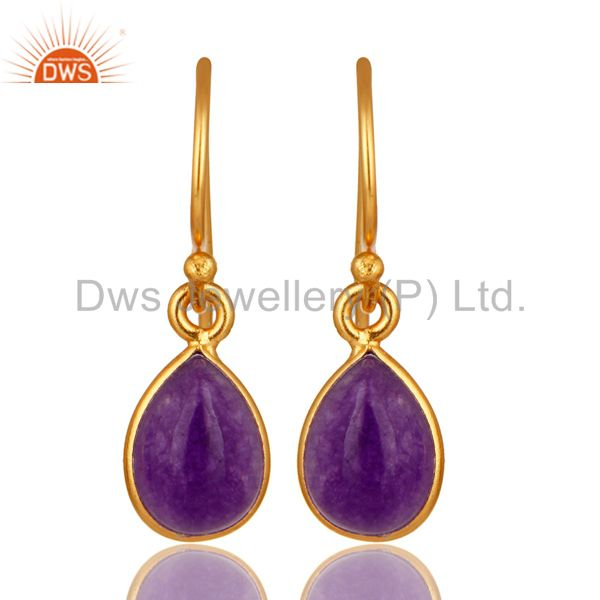Handmade Sterling Silver Purple Aventurine Drop Earrings With Gold Plated