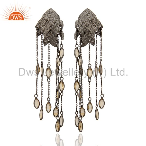 Oxidized Sterling Silver Citrine Gemstone Designer Chandelier Earrings