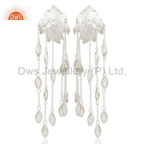 Handmade Solid Sterling Silver Crystal Quartz Gemstone Chain Chandelier Earrings