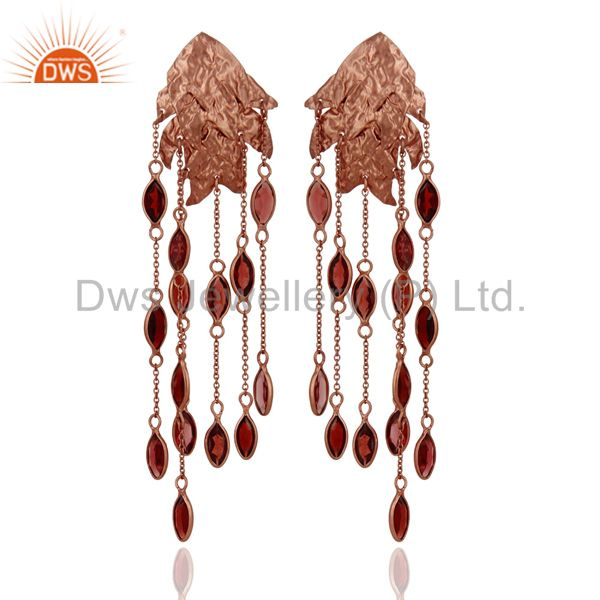 18K Rose Gold Plated Sterling Silver Garnet Gemstone Designer Chandelier Earring