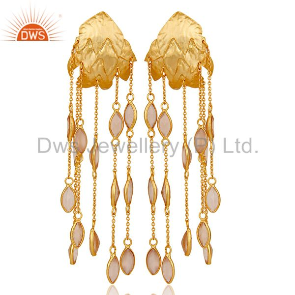 18k Gold Plated 925 Silver Chalcedony Gemstone Chain Chandelier Drop Earring