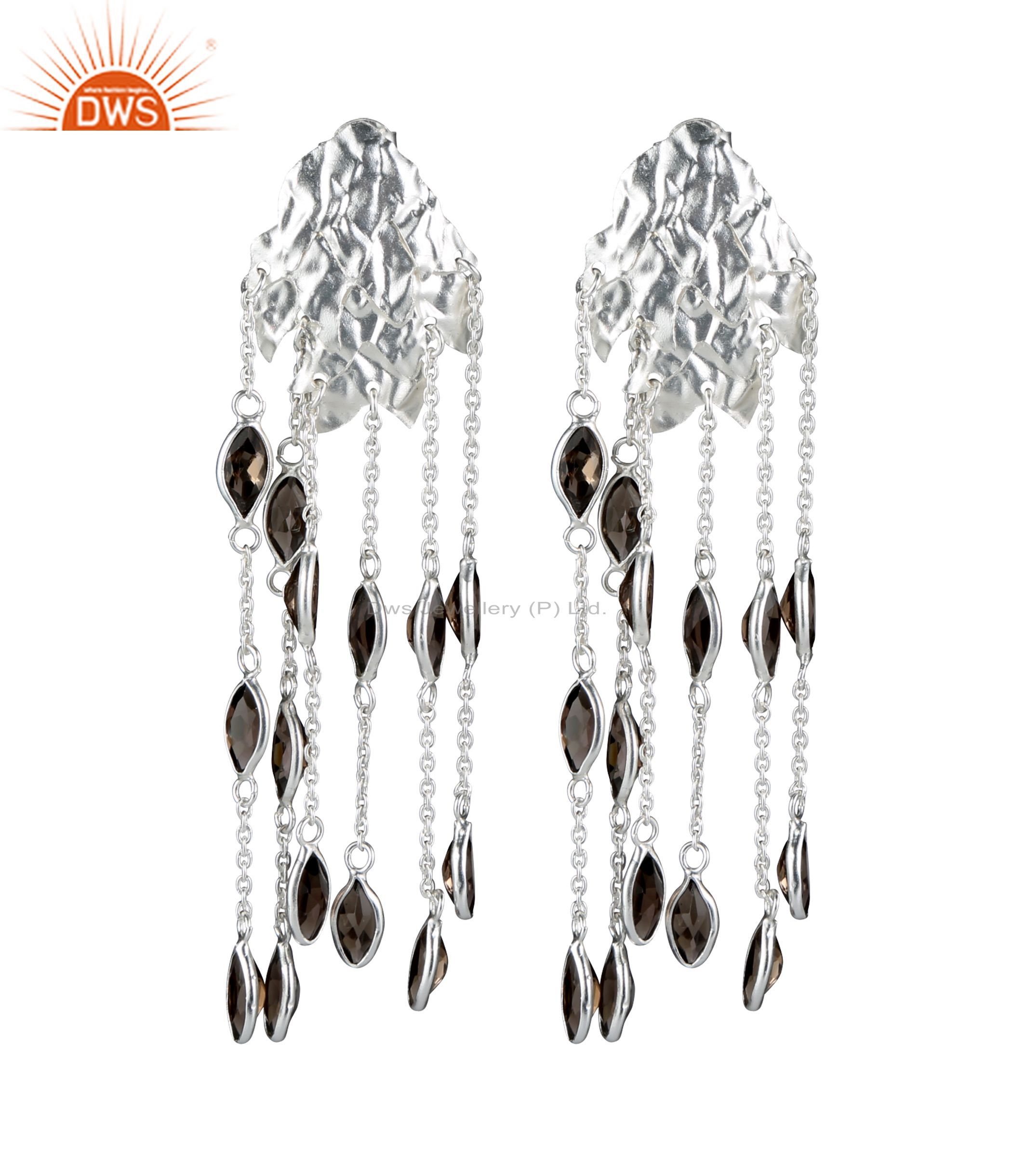 925 Sterling Silver Smoky Quartz Gemstone Link Chain Chandelier Earrings