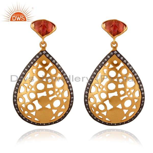 24K Yellow Gold Plated Brass Pink Glass And CZ Filigree Design Dangle Earrings