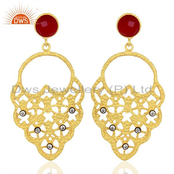 22K Yellow Gold Plated Pink Corundum And CZ Hammered Fashion Dangle Earrings