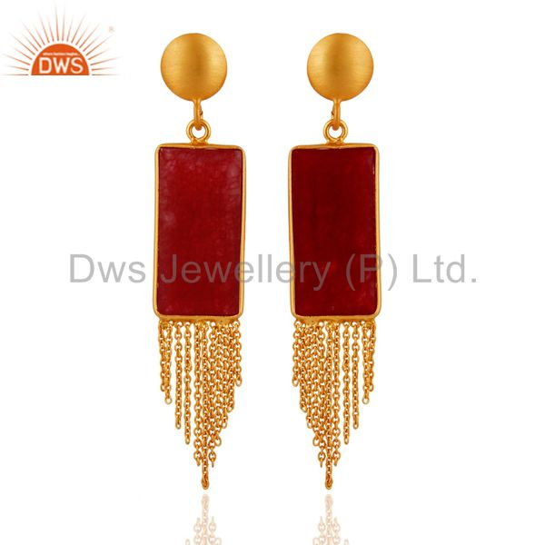18K Yellow Gold Plated Sterling Silver Red Aventurine Chain Chandelier Earrings