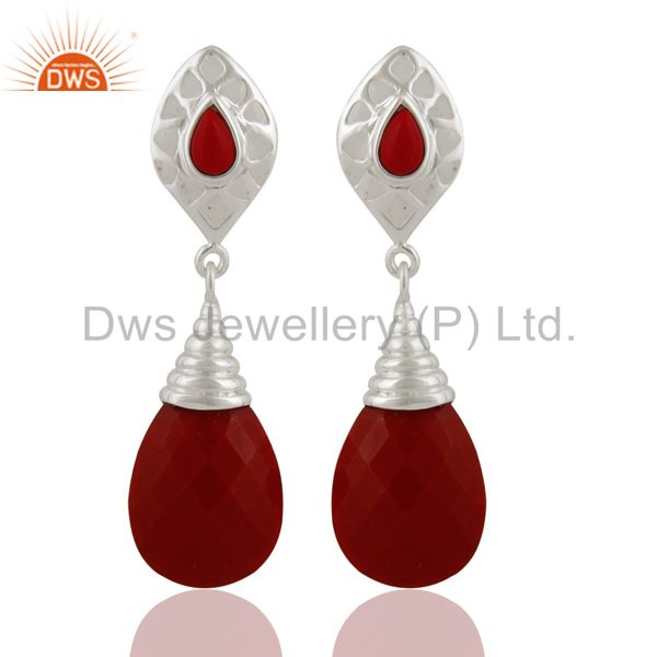 Handmade Solid Sterling Silver Red Coral Gemstone Fashion Dangle Earrings