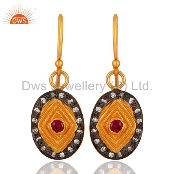18K Gold Plated 925 Sterling Silver White & Red Cubic Zirconia Designer Earrings