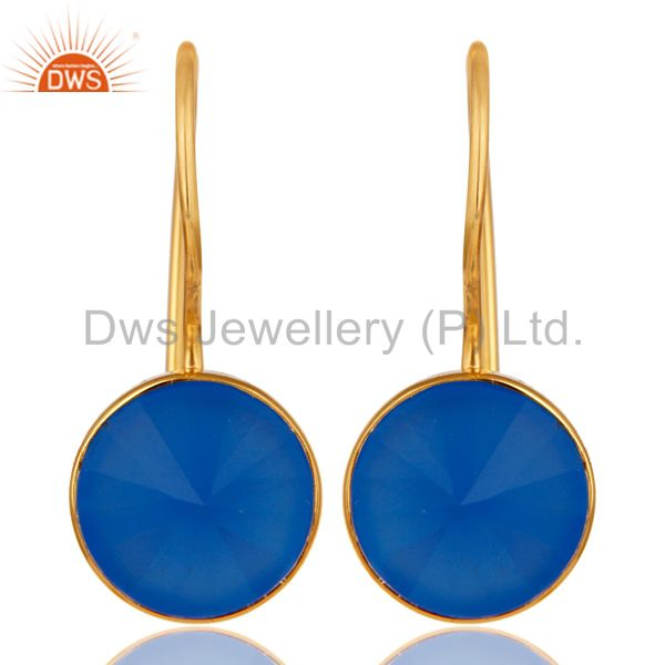 18K Yellow Gold Plated Blue Chalcedony Pyramid Earring Sterling Silver Earring