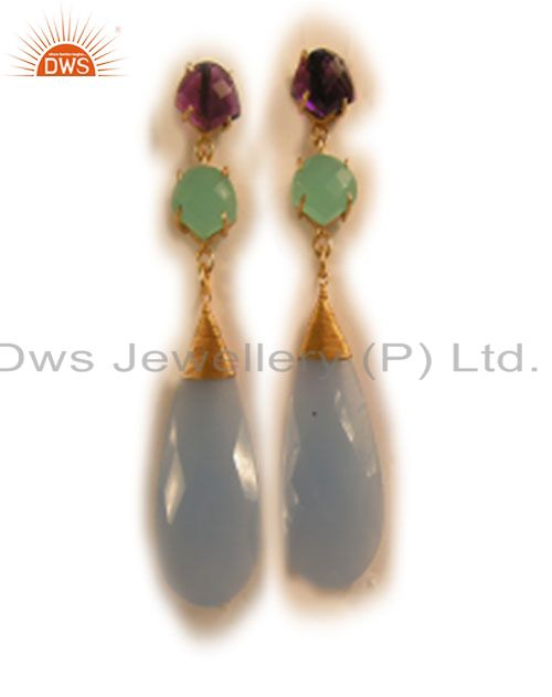 18K Yellow Gold Plated Blue Chalcedony And Hydro Amethyst Dangle Earrings