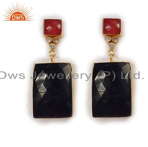 Red Aventurine And Black Onyx 22K Gold Plated Bezel Set Dangle Earrings With CZ